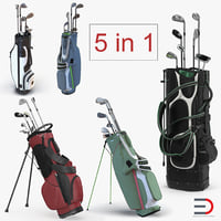 3D golf bag clubs
