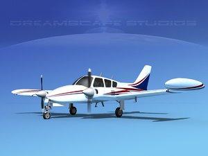 3D cockpit cessna 320 model