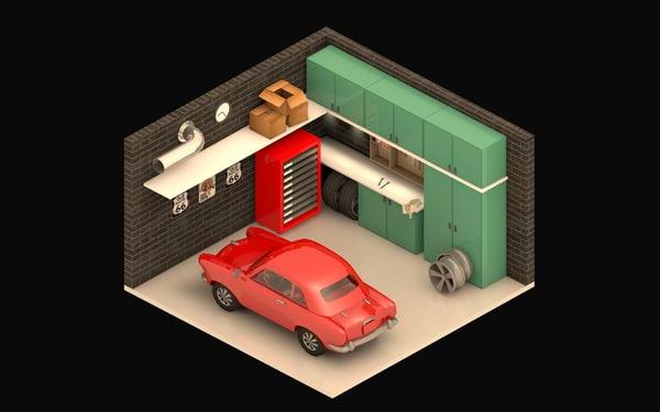 scenes garage living 3D