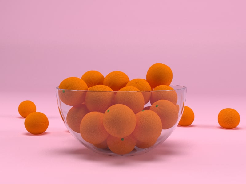 bowl oranges 3D model