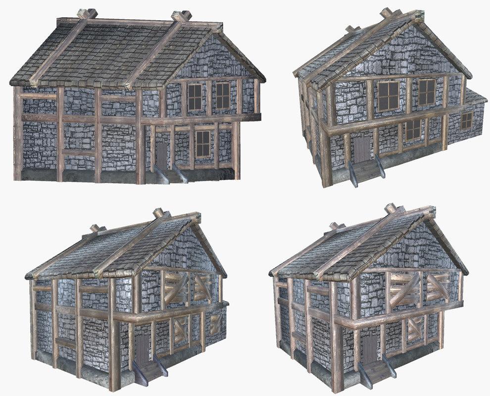 3D pack medieval houses model