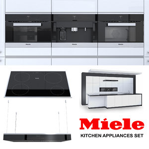 set miele kitchen appliances 3D model