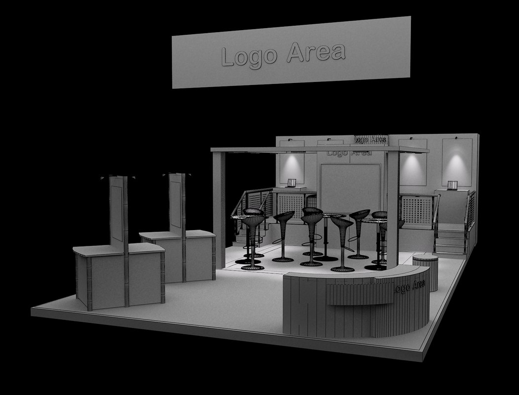 Exhibition Stand White : Booth exhibition stand d model turbosquid