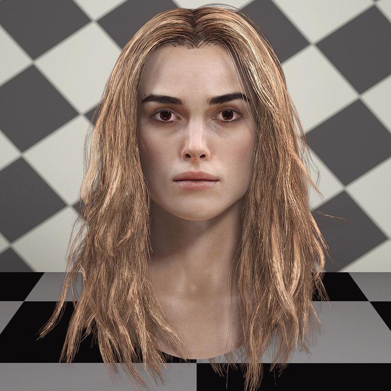 keira knightley head v2 3D model