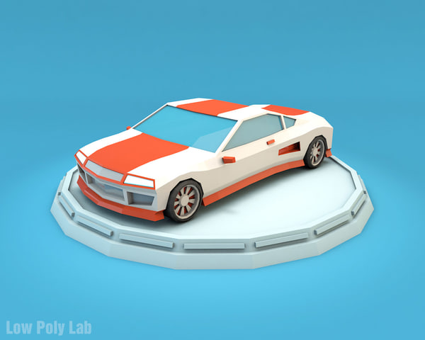 sport car cartoon 3D model