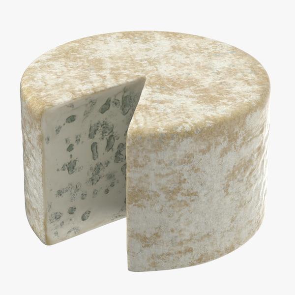 3D model blue cheese wheel cut