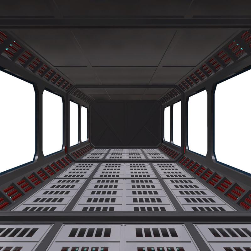 3D model sci-fi corridor modular