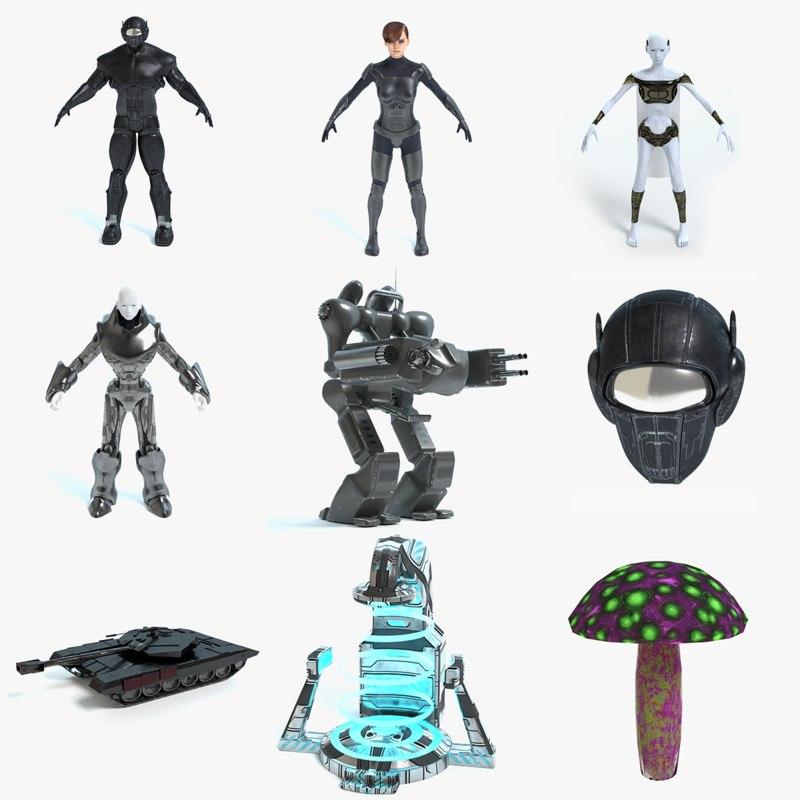 futuristic soldier alien model