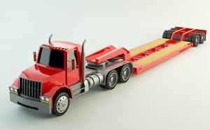 3D lowboy truck trailer polys