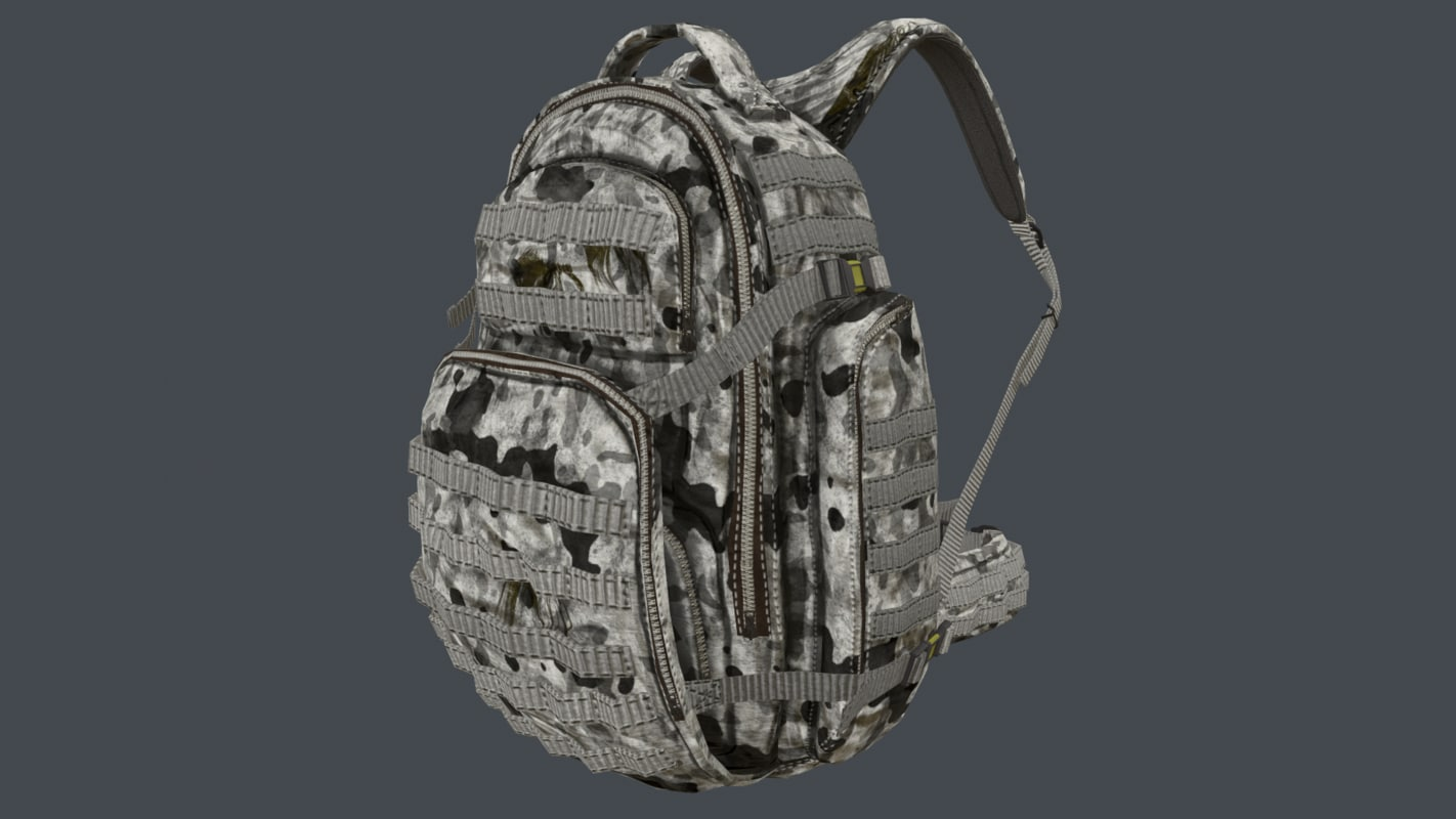 3D arctic camouflage backpack