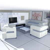 minimalist living room 3D model