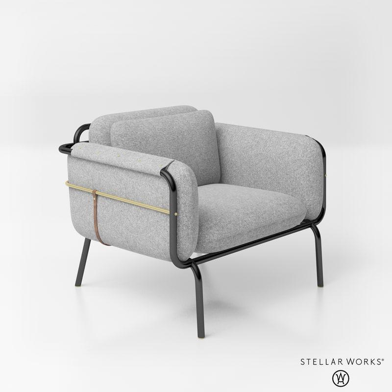 3D stellar works valet club chair TurboSquid