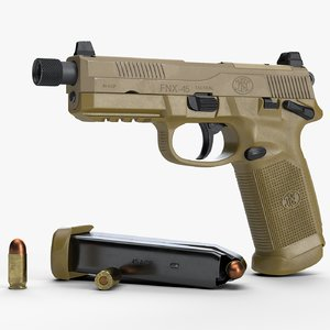 3D fn fnx-45 tactical pistol model