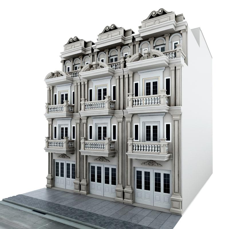 Classic Building Design 3D Model