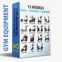 - 15 bikes trainers 3D model