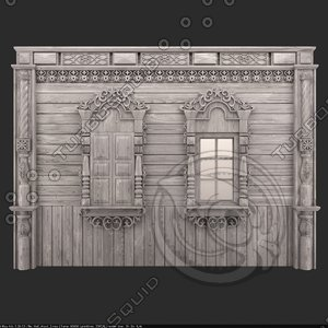 old decorated wood wall model