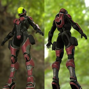 sci fi female soldier 3D