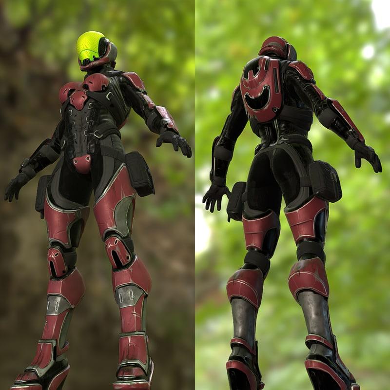3D model sci fi female soldier