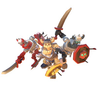 3D model skeleton swordsman smashy