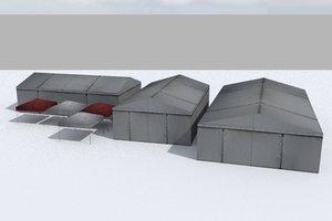 racing track tent paddock 3D model