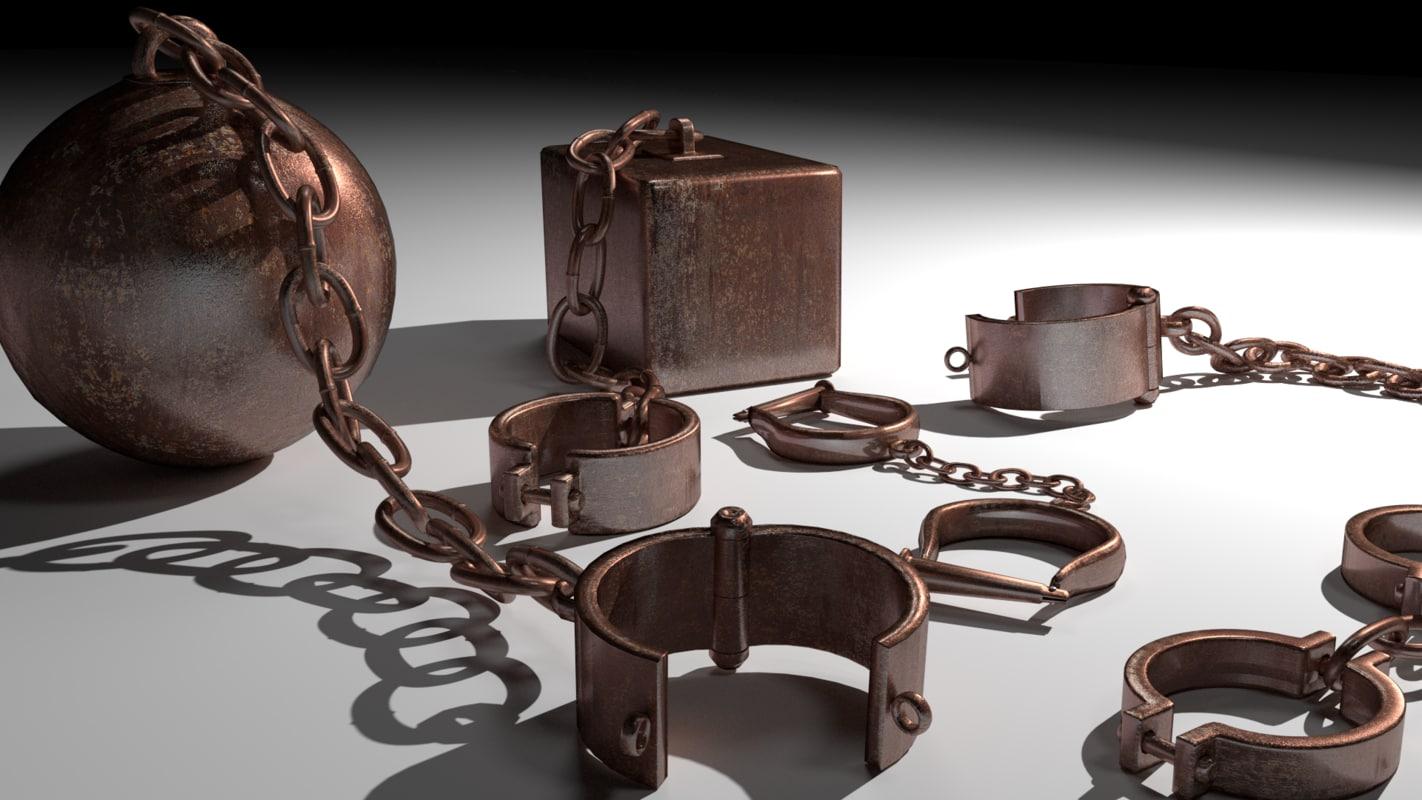 3D model medieval shackles