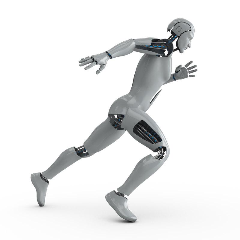 rigged cyborg male 3D model