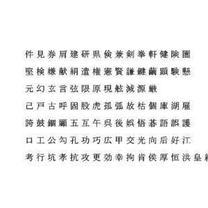 chinese ms pmincho font model
