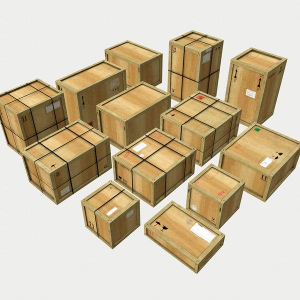pack wooden crates 3D