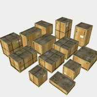 pack wooden crates model