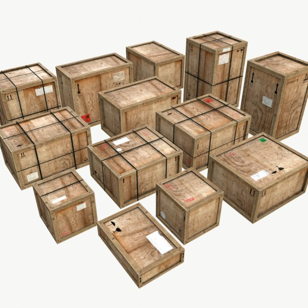 3D pack old wooden crates