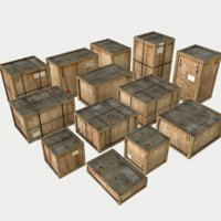 3D model pack old wooden crates