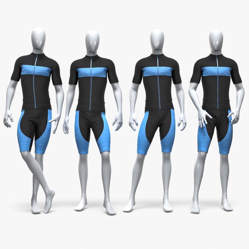 male sport cycling suit 3D model