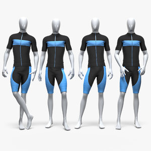male sport cycling suit 3D model