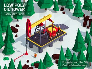 3D cartoon oil tower