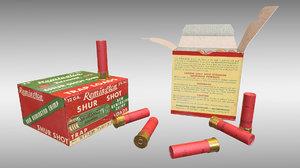 3D model 12 gauge shells pbr