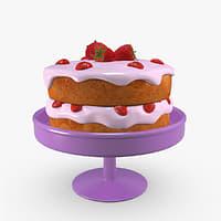 cake strawberries 3D model
