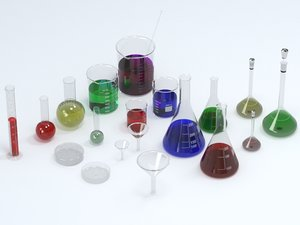 science lab glassware 3D model