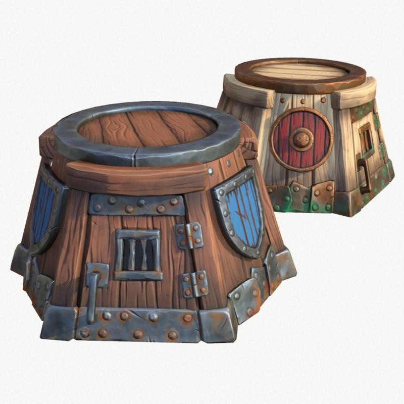 cartoon wooden tower 3D model