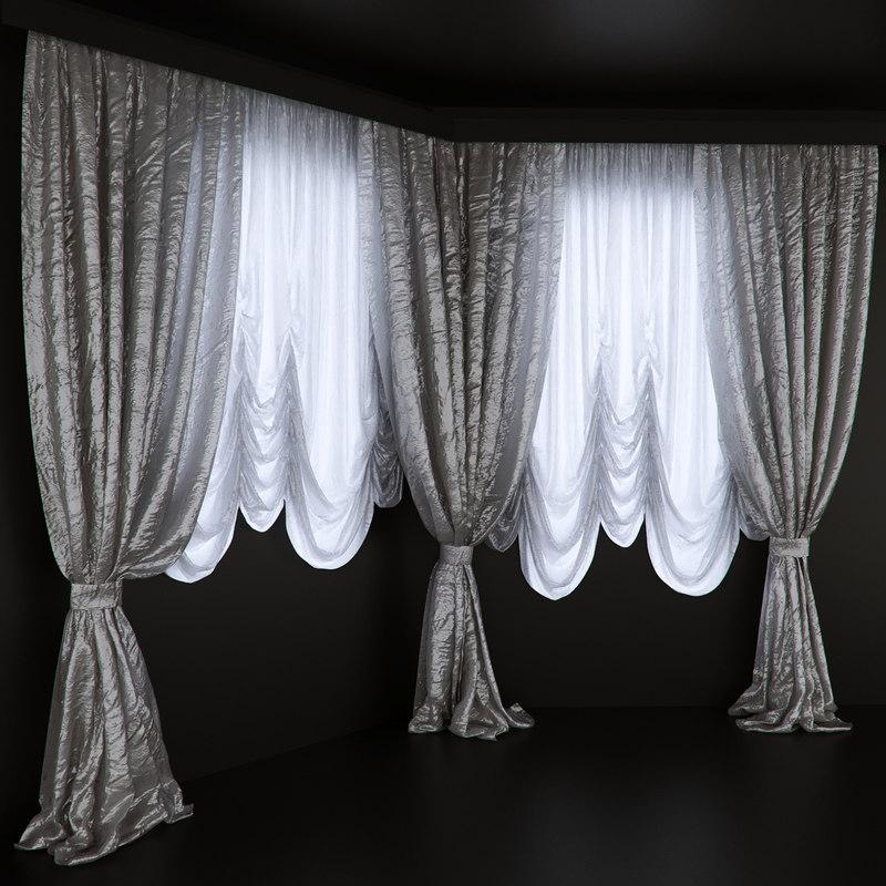 3D model set curtains bay window