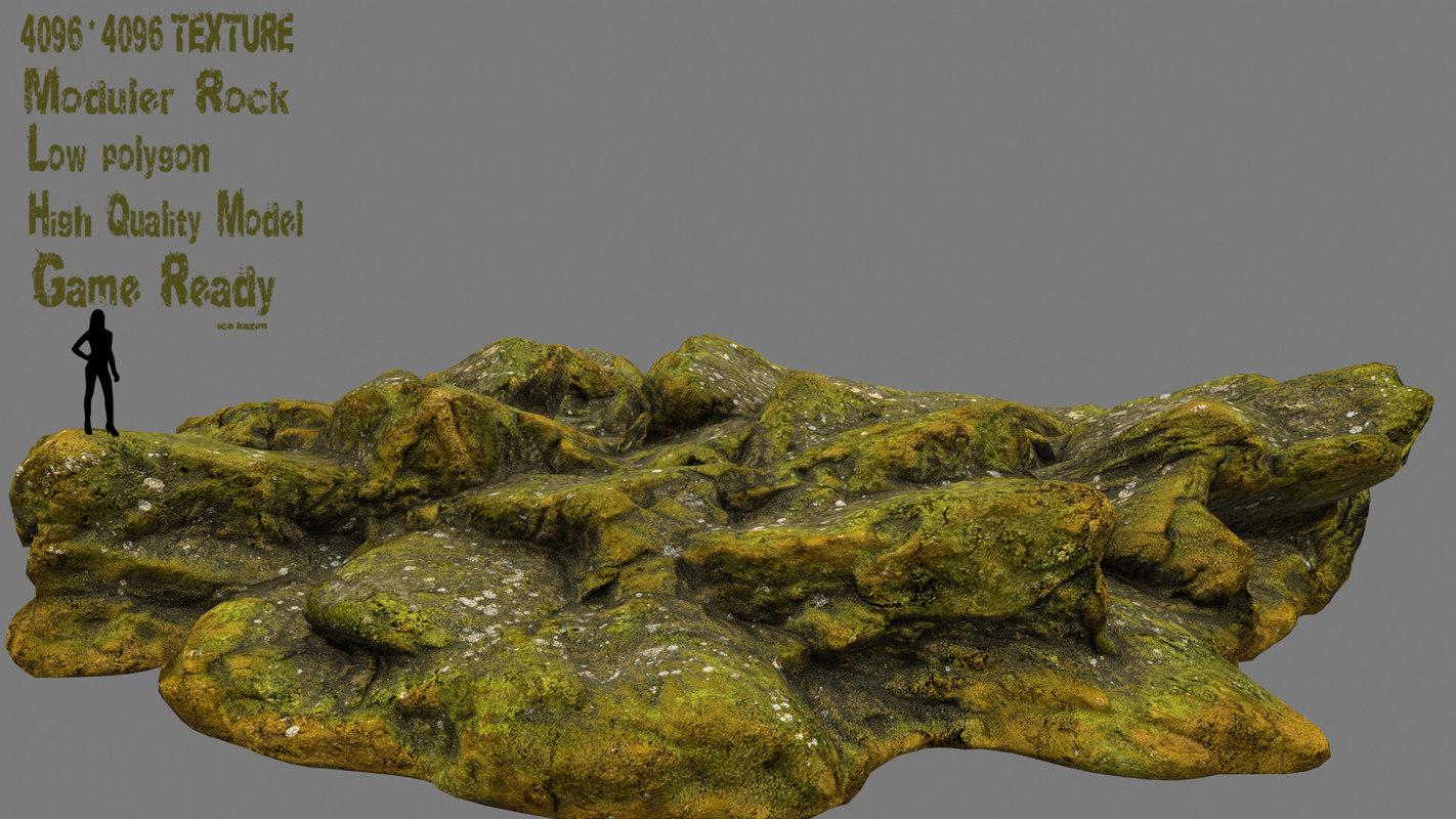 rock mossy 3D