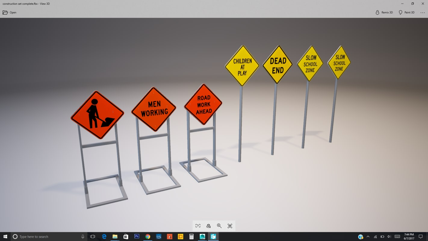 construction set signs 3D model