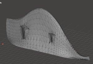 3D model kiteboard fin