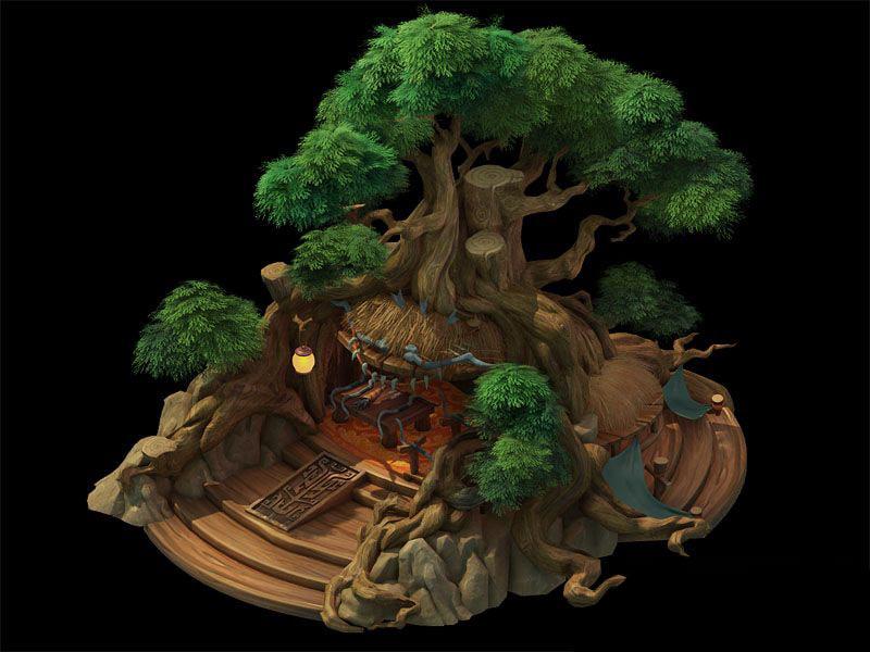 3D big tree house model