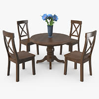 wooden table chairs vase 3D model