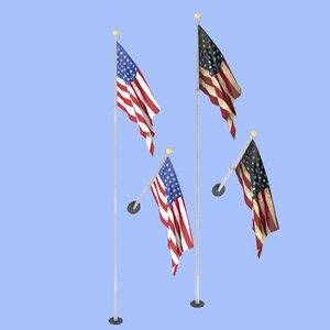3D usa flag model