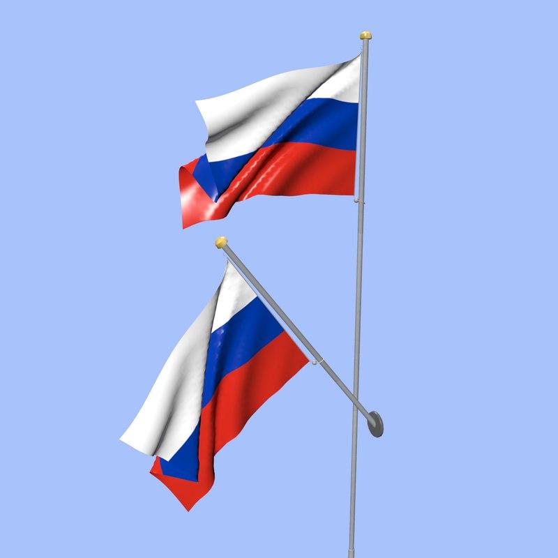 3D russia flag