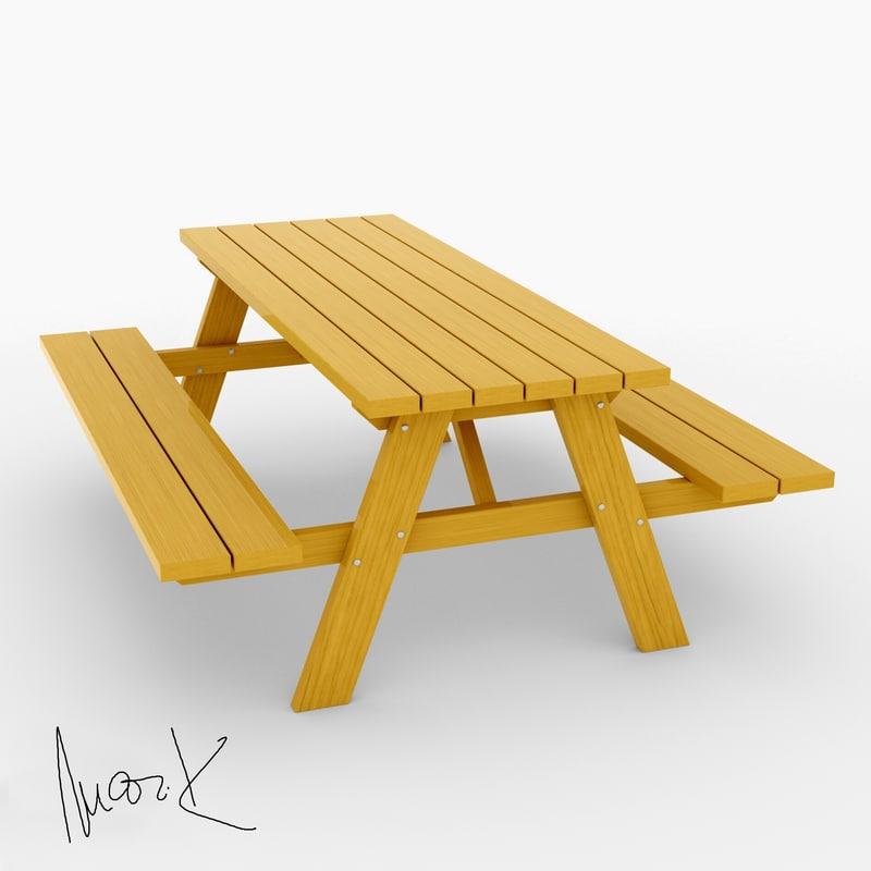 garden bench table model