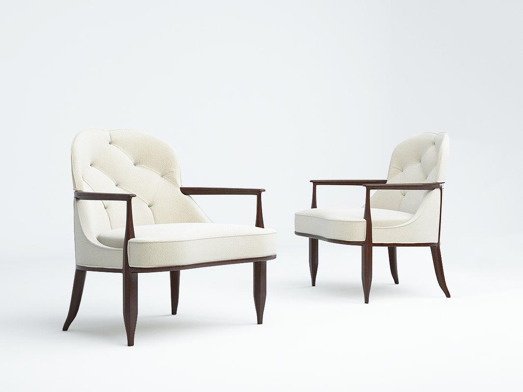 lounge chair edward wormley 3D