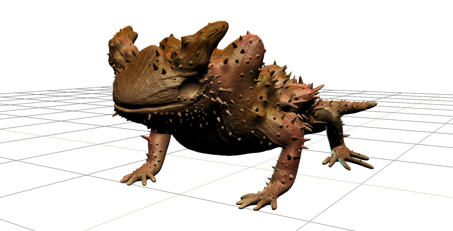3D spiky desert lizard rig