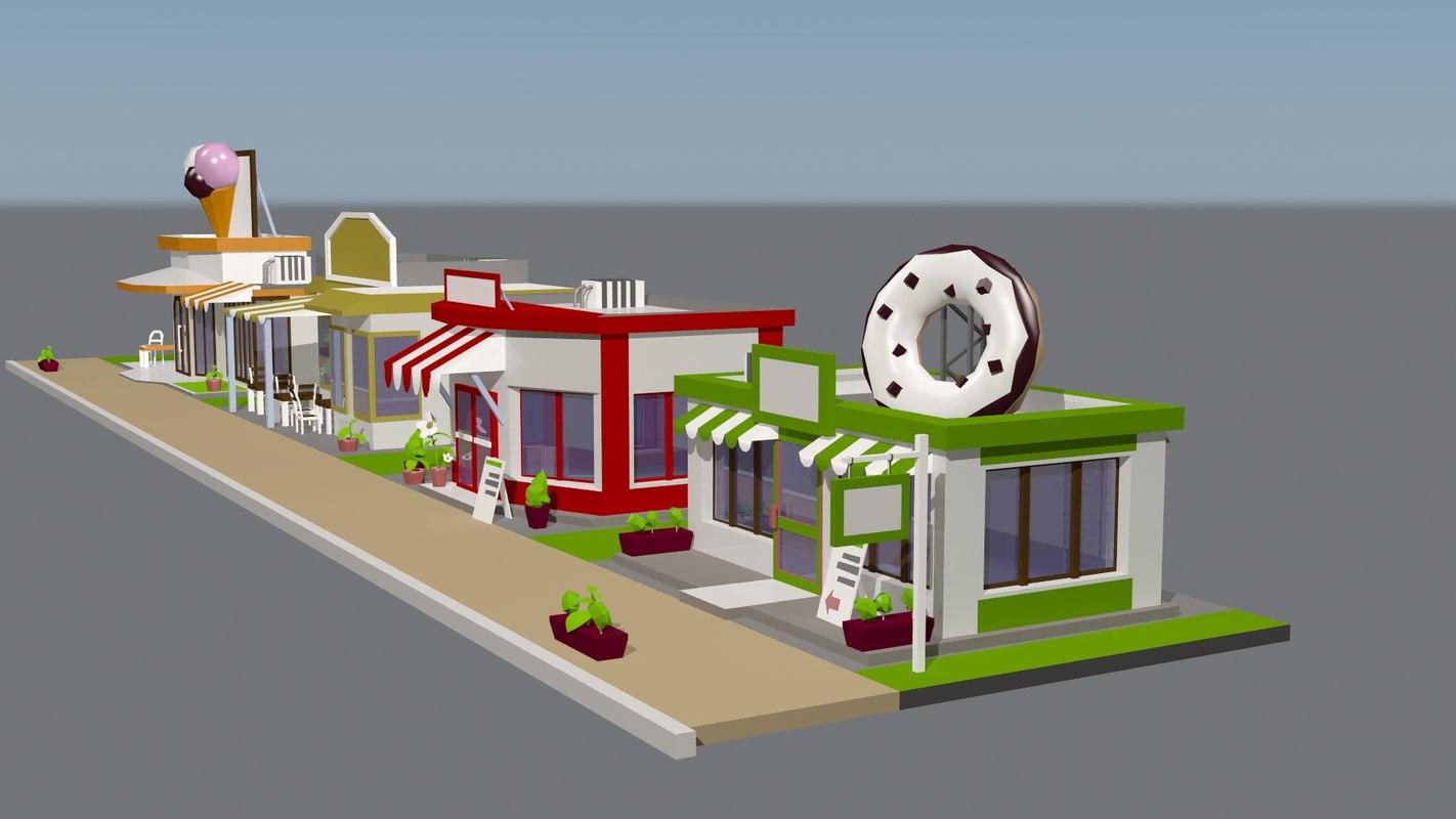 stores buildings 3D model